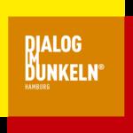 Logo In Orange Gelb Und Rot Mit Weissem Schriftzug DIALOG IM DUNKELN In Der Mitte