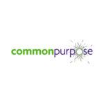 Logo Von Common Purpose, Grasgrüner Und Lila Farbener SChriftzug, Klein Und Zusammen Geschrieben, Auf Weissem Hintergrund