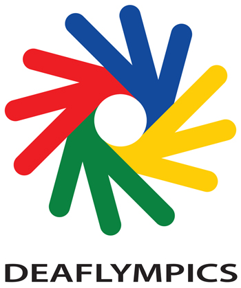 Logo Deaflympics In Blau, Rot, Gelb Und Grünen Fingerähnlichen Elementen, Die Sich Wie Ein Rad Um Einen Weissen Kreis Schliessen